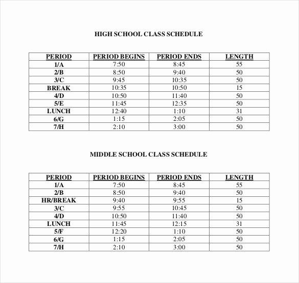 High School Schedule Template Best Of Class Schedule Template 36 Free Word Excel Documents