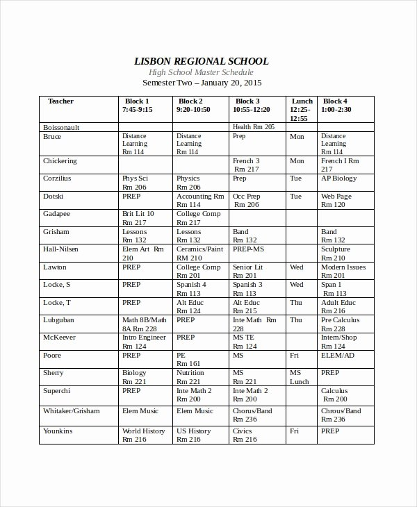High School Schedule Template Best Of Master Schedule Template 8 Free Word Pdf Pages