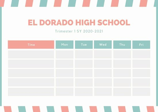 High School Schedule Template Fresh Customize 82 Class Schedule Templates Online Canva
