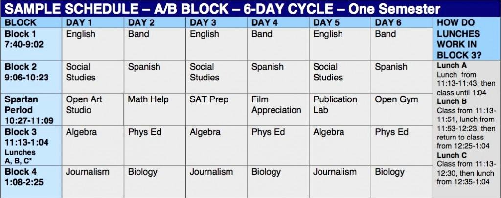 High School Schedule Template Lovely New Kids On the Block southern Lehigh Switching to A B