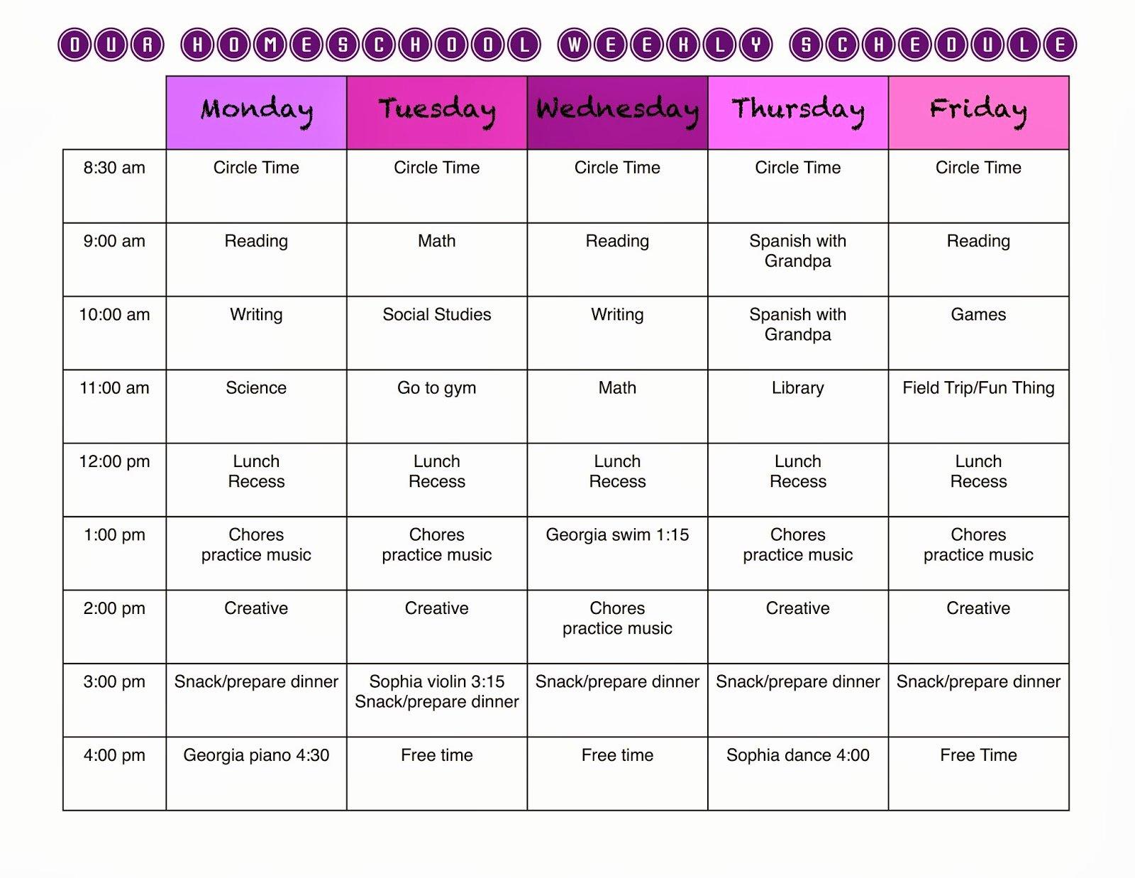 High School Schedule Template Luxury Homeschool Schedule Template