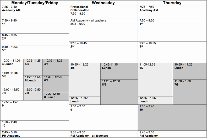 High School Schedule Template New Typical American High School Timetable Studying James