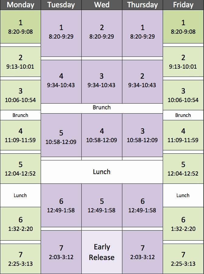 High School Schedule Template Unique Block Schedule Piedmont Middle School