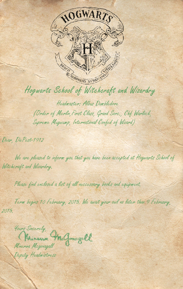 Hogwarts Acceptance Letter Template Elegant Hogwarts Acceptance Letter for Diepest 1912 by Hogwarts