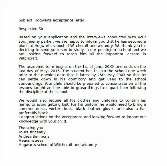 Hogwarts Acceptance Letter Template Elegant Sample Hogwarts Acceptance Letter 8 Download Documents