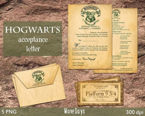 Hogwarts Acceptance Letter Template Fresh Hogwarts Acceptance Letter – Harry Potter World 5 Pieces