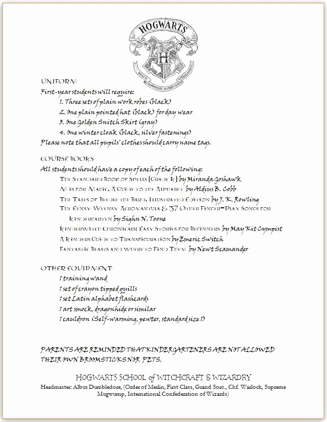 Hogwarts Acceptance Letter Template Inspirational Pieces by Polly Hogwarts Letter Kindergarten Edition