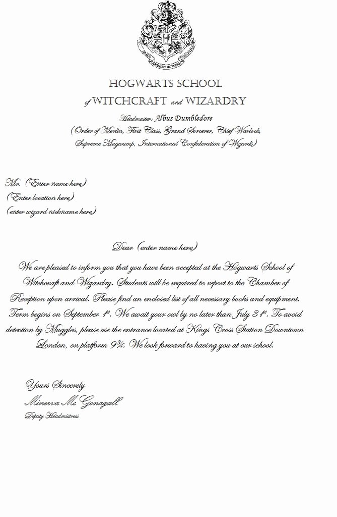 Hogwarts Acceptance Letter Template Luxury Make Your Own Hogwarts Acceptance Letter