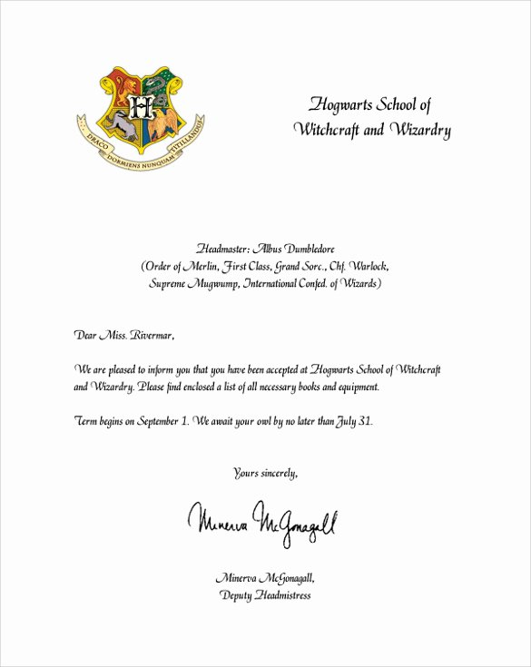 Hogwarts Acceptance Letter Template Luxury Sample Hogwarts Acceptance Letter 8 Download Documents