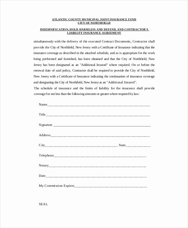 Hold Harmless Agreement Template Awesome Contractor Hold Harmless Agreement