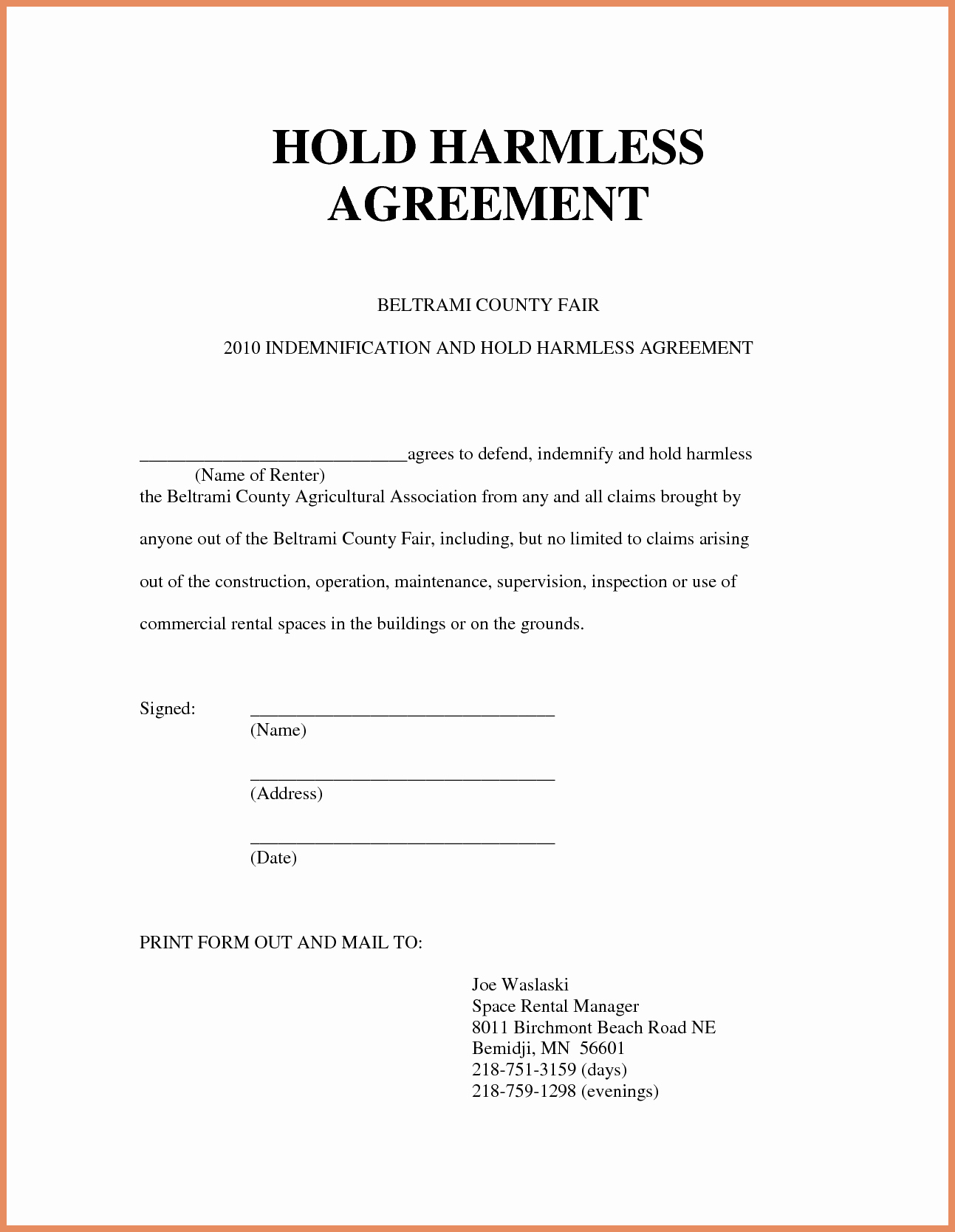 Hold Harmless Agreement Template Beautiful Hold Harmless Agreement Sample