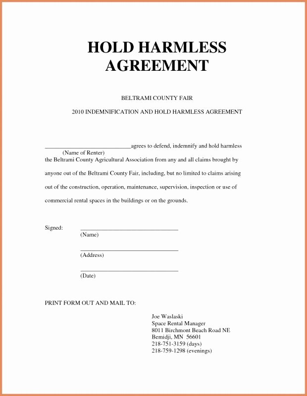 Hold Harmless Agreement Template Best Of Hold Harmless form