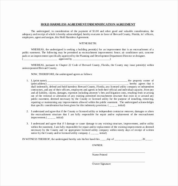 Hold Harmless Agreement Template Elegant 10 Hold Harmless Agreement Templates– Free Sample
