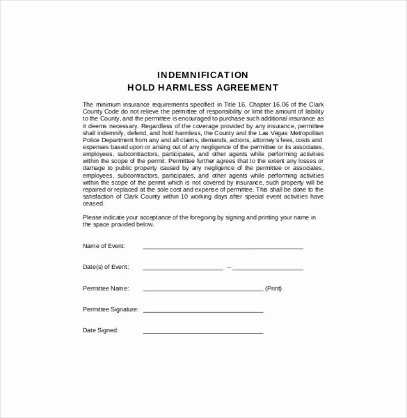 Hold Harmless Agreement Template Elegant Hold Harmless Agreement form
