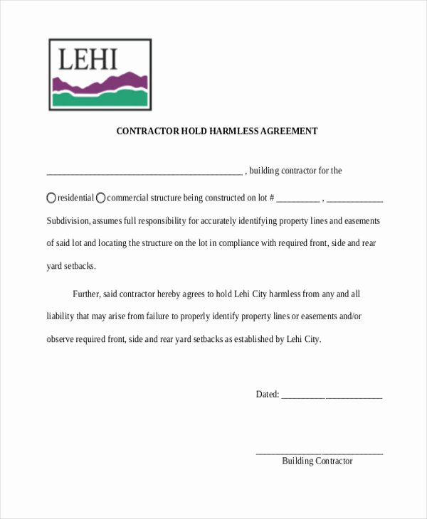 Hold Harmless Agreement Template Fresh Contractor Hold Harmless Agreement