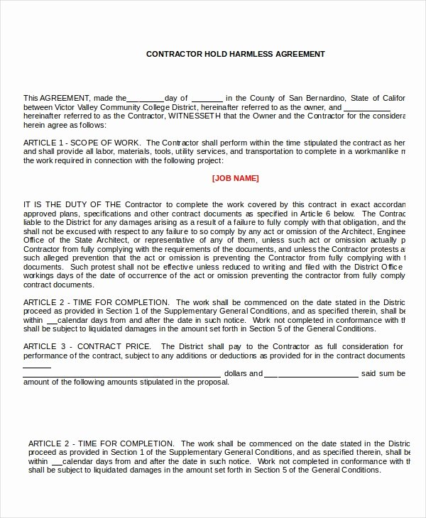Hold Harmless Agreement Template Lovely 14 Hold Harmless Agreements Free Sample Example