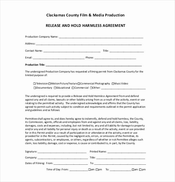 Hold Harmless Agreement Template Lovely Hold Harmless Agreement Example