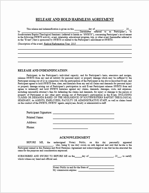 Hold Harmless Agreement Template Luxury 43 Free Hold Harmless Agreement Templates Ms Word and Pdfs