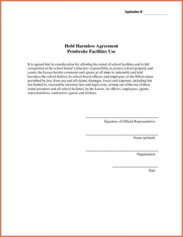 Hold Harmless Agreement Template Luxury Hold Harmless Agreement Sample