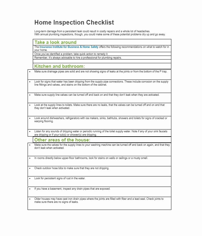 Home Inspection Checklist Template Elegant 20 Printable Home Inspection Checklists Word Pdf