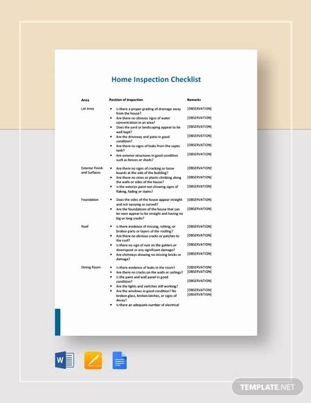 Home Inspection Checklist Template Inspirational Free 10 Sample Home Inspection Checklist Templates In