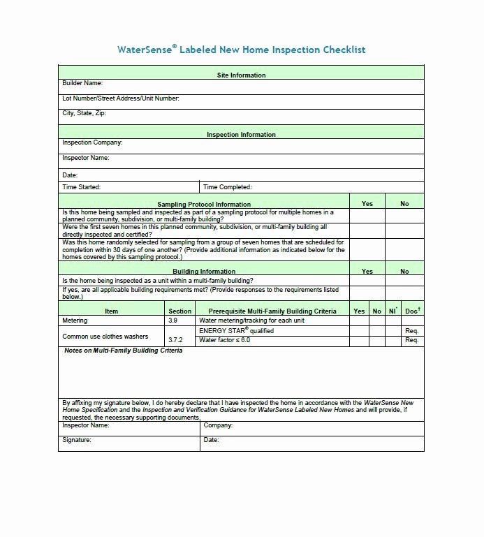 Home Inspection Checklist Template Unique 20 Printable Home Inspection Checklists Word Pdf
