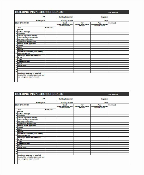 Home Inspection Checklist Template Unique Easy to Use Inspection Checklist and form Samples Violeet