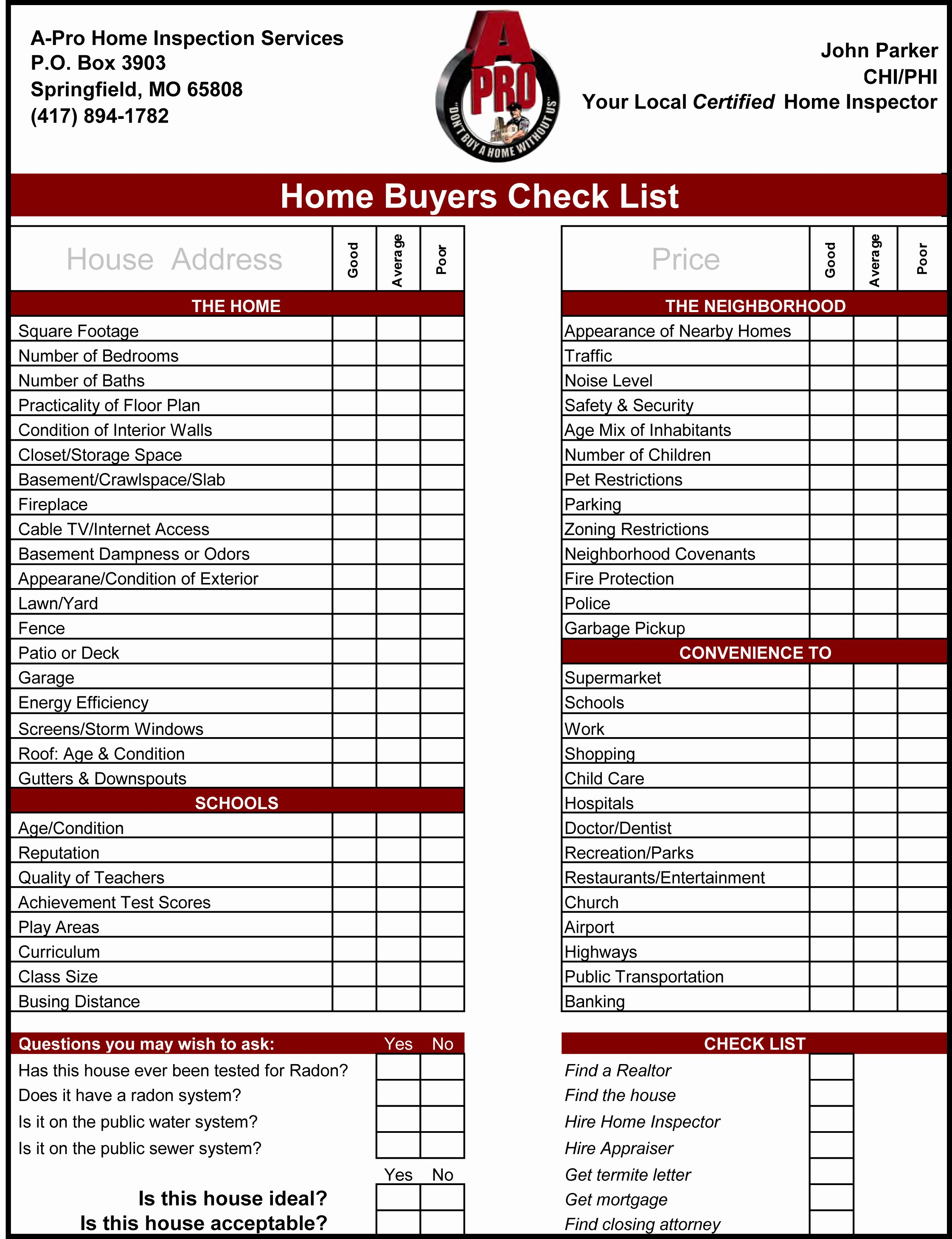 Home Inspection Checklist Templates Beautiful Home Inspection Checklist