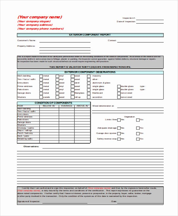 Home Inspection Report Template Inspirational 13 Sample Inspection Report Templates Docs Word Pages