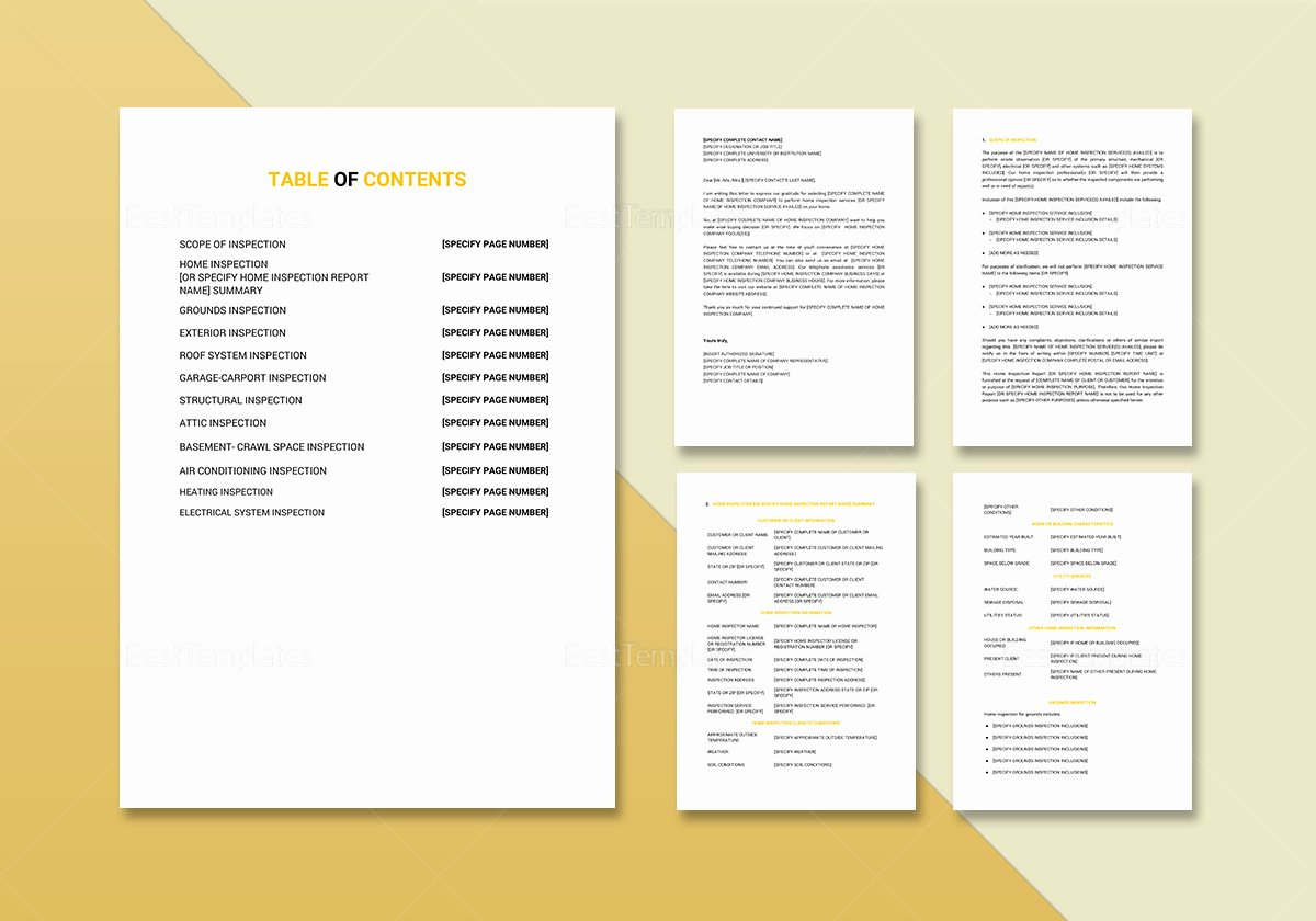 Home Inspection Report Template Lovely Home Inspection Report Template In Word Google Docs