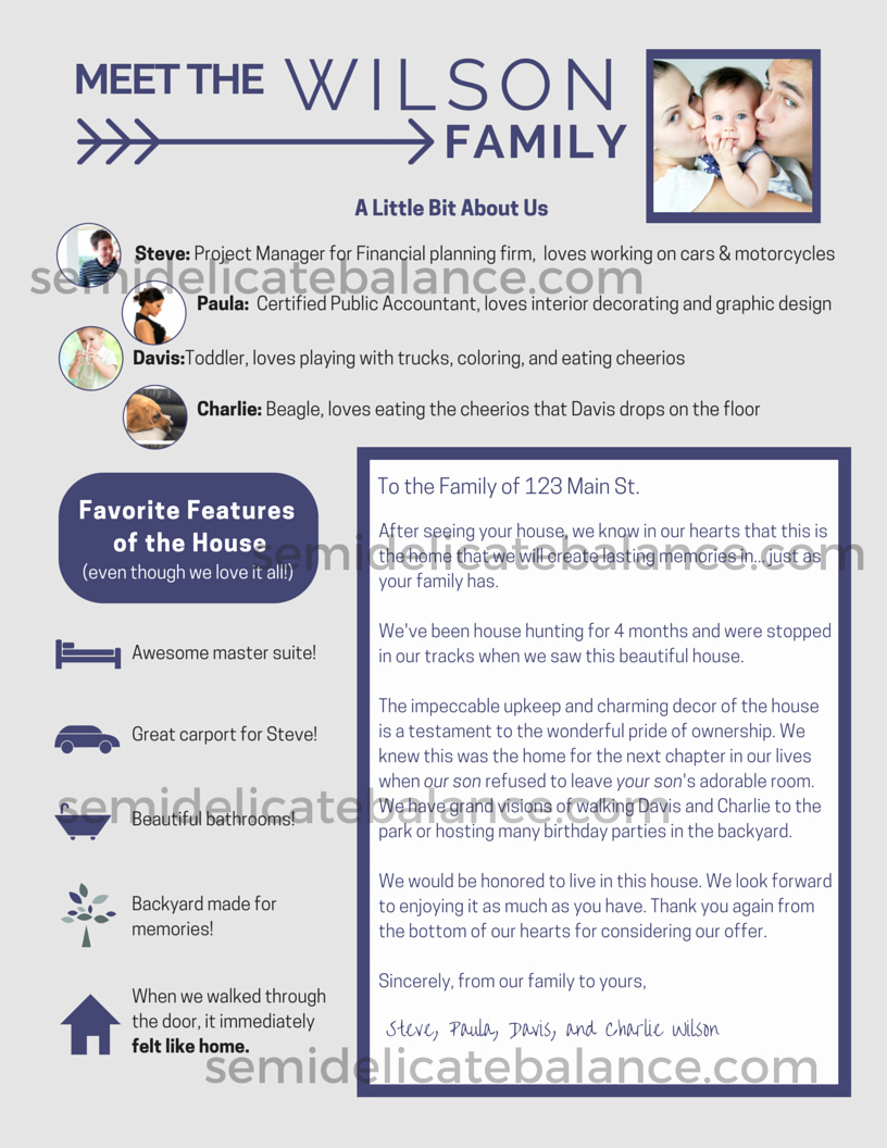 Home Offer Letter Template Inspirational the Epic Buyer Fer Letter that Won Us the House