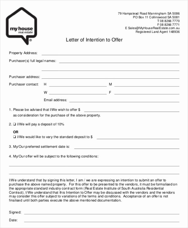 Home Offer Letter Template Unique Real Estate Fer Letter