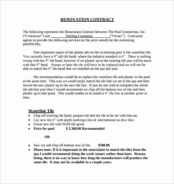 Home Remodeling Contract Template Awesome 10 Remodeling Contract Templates Pages Docs