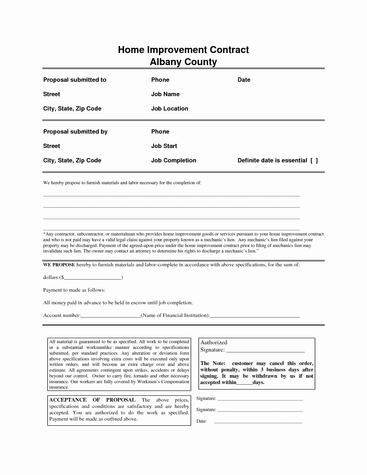 Home Remodeling Contract Template Awesome Home Improvement Contract Free Printable Documents