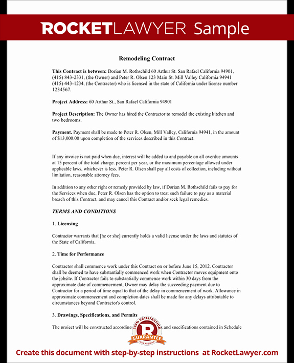 Home Remodeling Contract Template Awesome Home Remodeling Contract form with Sample