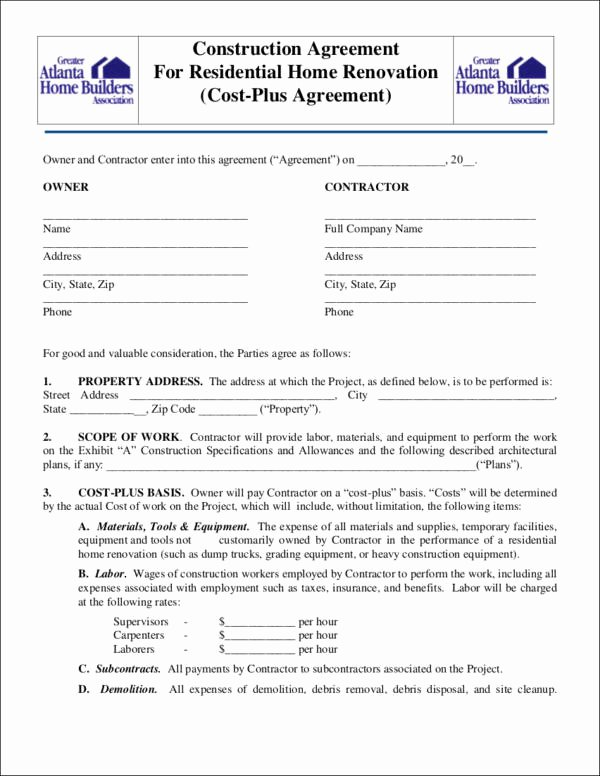 Home Remodeling Contract Template Beautiful Free 14 Renovation Contract Templates In Docs Pages
