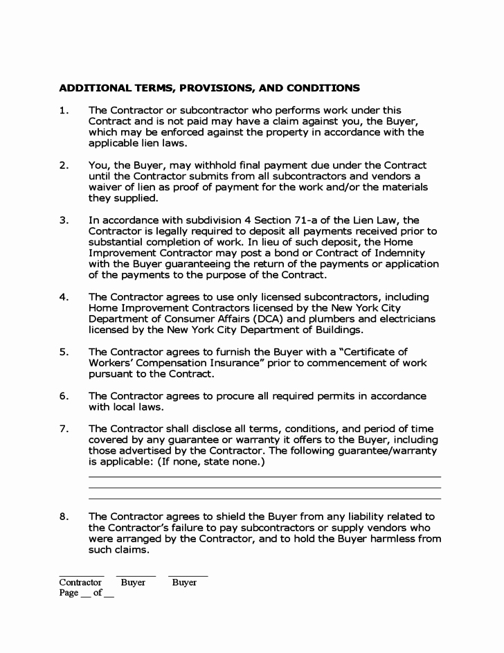 Home Remodeling Contract Template Beautiful Home Improvement Contract Free Download