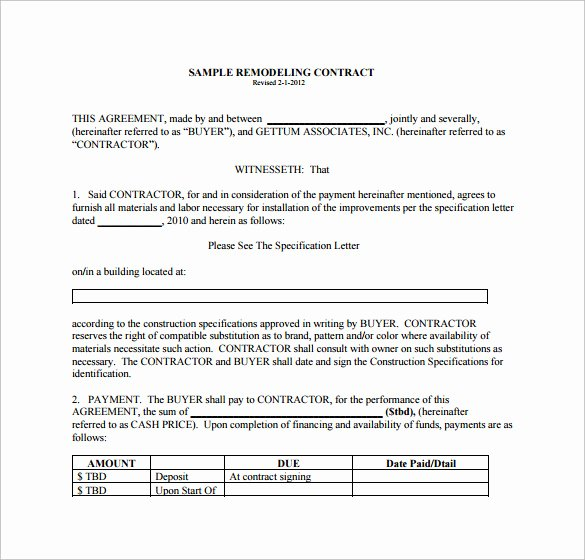 Home Remodeling Contract Template Best Of 10 Remodeling Contract Templates Pages Docs