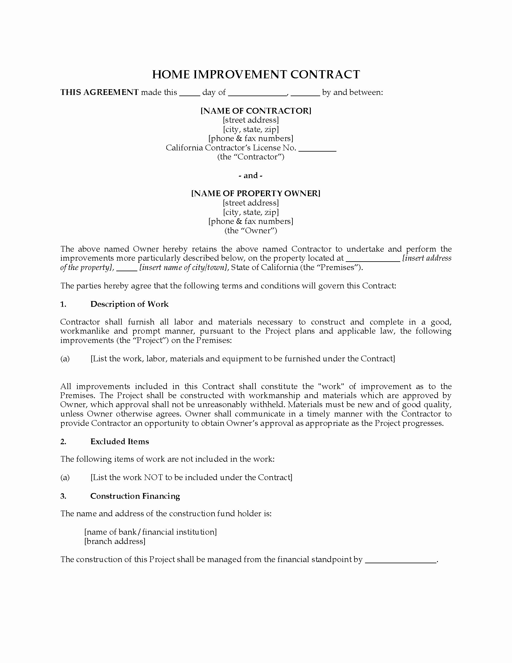 Home Remodeling Contract Template Fresh California Home Improvement Contract