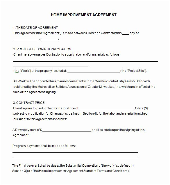 Home Remodeling Contract Template Inspirational 10 Home Remodeling Contract Templates Word Docs Pages