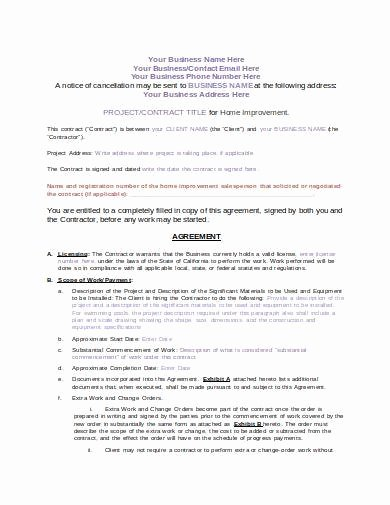 Home Remodeling Contract Template Lovely Free 9 Remodeling Contract Samples In Pdf