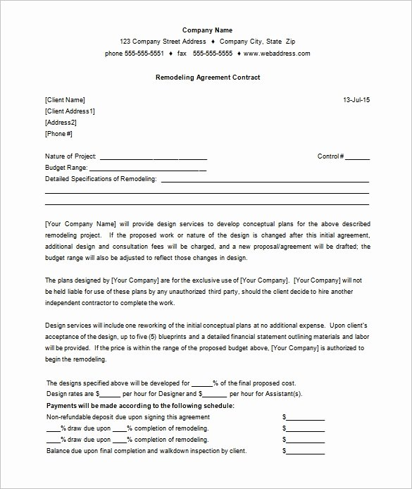 Home Remodeling Contract Template Luxury 11 Remodeling Contract Templates Docs Word Apple