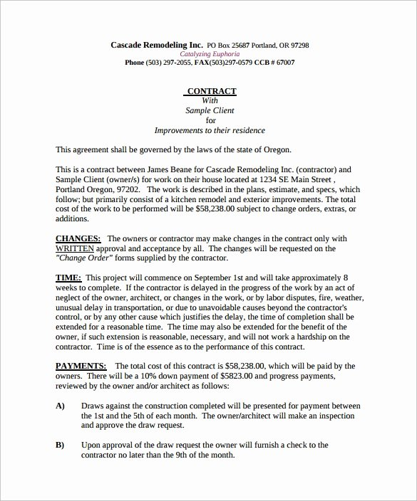 Home Remodeling Contract Template Luxury 12 Remodeling Contract Templates Pages Docs Word