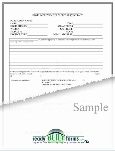 Home Remodeling Contract Template Luxury Free Printable Home Improvement Contract form Generic