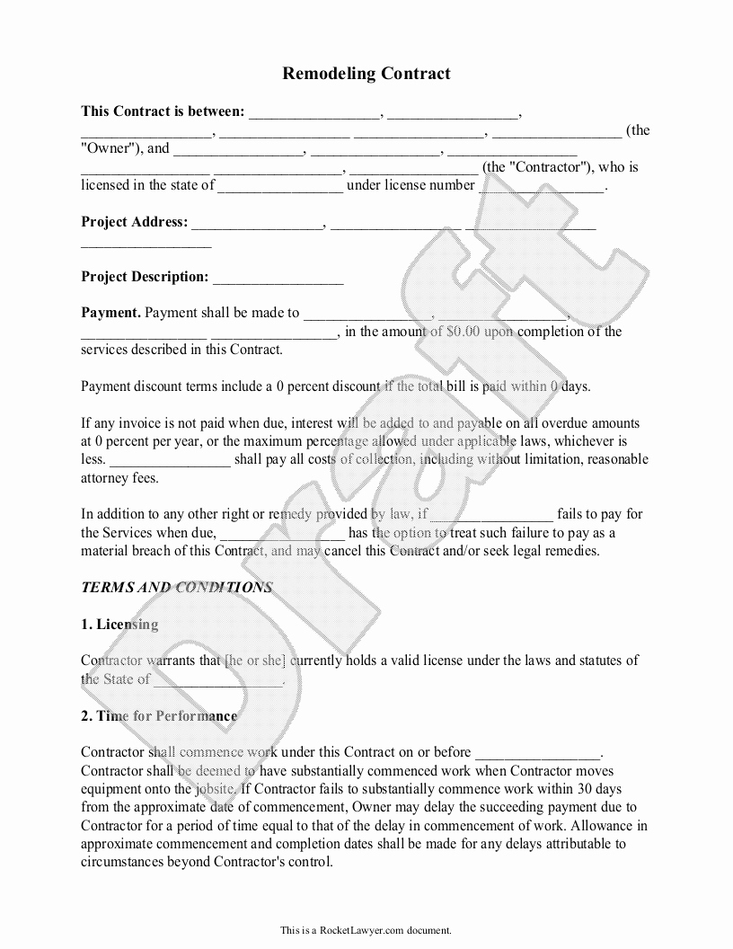 Home Remodeling Contract Template New Home Remodeling Contract form with Sample