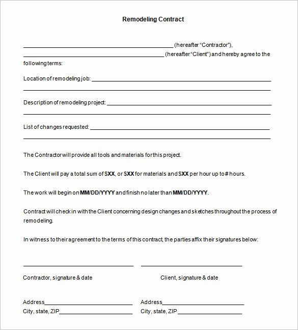 Home Remodeling Contract Template New Kitchen Remodeling Contract Sample – Wow Blog