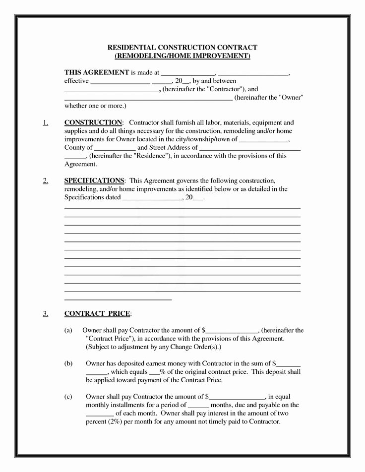 Home Remodeling Contract Template New Pics Of Residential Construction Contracts