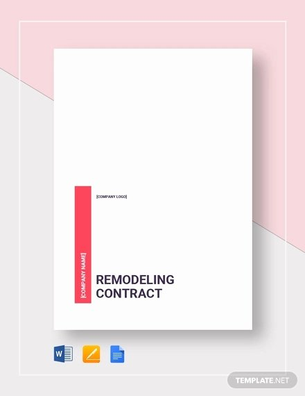 Home Remodeling Contract Template Unique 10 Home Remodeling Contract Templates Word Docs Pages
