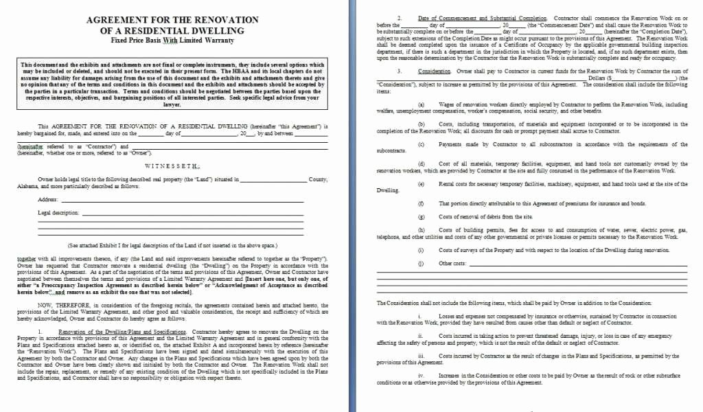 Home Remodeling Contract Template Unique Renovation Contract