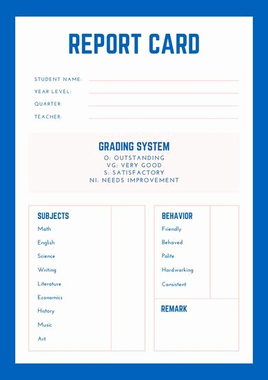 Homeschool Report Card Template Beautiful Customize 34 Homeschool Report Card Templates Online Canva